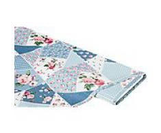 Abwaschbare Tischwäsche - Wachstuch Patchwork mille fleurs, blau-color