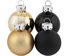 Weihnachtskugeln aus Glas, schwarz, gold 3 cm Ø, 12 Stück