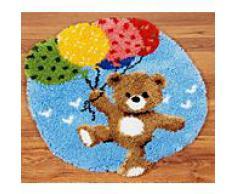 "Knüpf-Formteppich ""Teddy & Luftballons"" 55 x 62 cm"