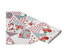 Abwaschbare Tischwäsche - Wachstuch Patchwork mille fleurs, grau-color