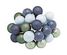 Weihnachtskugeln aus Glas, dunkelblau, eukalyptus, hellblau, 2 cm Ø