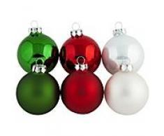 Weihnachtskugeln aus Glas, rot, grün, weiß, 6 cm Ø, 12 Stück