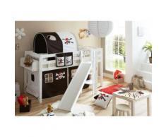 Spielbett Tino, Buche massiv, weiß lackiert, Pirat, schwarz-weiß schwarz/weiß