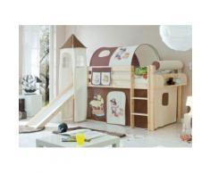 Spielbett mit Turm Kasper, Kiefer massiv, natur lackiert, Pirat, braun-beige, 90 x 200 cm beige/braun