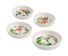 """4-tlg. Bambus Schalen Set ""Tropical Flamingo"" Ø17,5 cm rosa/grün"""