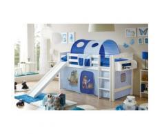 Spielbett Theo R, Buche massiv, weiß lackiert, Pirat, hellblau-dunkelblau, 90 x 200 cm