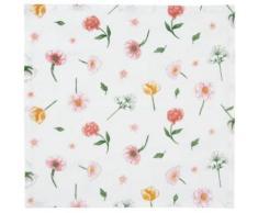 6er-Set Stoff-Servietten mit Blumenmotiv 40x40 cm weiß