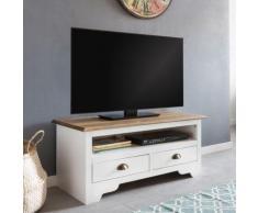 """""""Kiefer Massivholz TV-Board """"Landhaus"""" mit 2 Schubladen 100x45x45 cm weiß"""""""