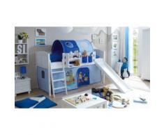 Spielbett Ekki Country, Kiefer massiv, weiß lackiert, Pirat, hellblau-dunkelblau, 90 x 200 cm