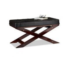 Sitzbank mit Polster ohne Lehne, 76x38 cm schwarz