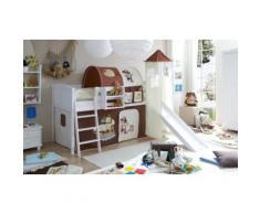 Spielbett mit Turm Ekki Country, Kiefer massiv, weiß lackiert, Pirat, braun-beige, 90 x 200 cm beige/braun