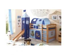 Spielbett mit Turm Toby R, Buche massiv, natur lackiert, Pirat, hellblau-dunkelblau, 90 x 200 cm