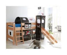Spielbett mit Turm Kenny R, Buche massiv, natur, Pirat schwarz-weiß