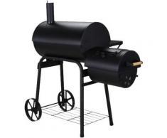 BBQ Smoker & Holzkohlegrill mit separater Grill- und Smokerfläche schwarz