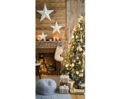 """""""XL Banner Bild """"Weihnachtsbaum & Kamin"""" rollbar, H180 cm bunt"""""""