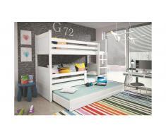 JUSTyou Lora mit Extrabett Etagenbett 90x200 cm Weiß Weiß