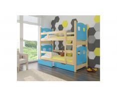JUSTyou Maraba Kinderbett 160x188x81 cm Kiefer Blau