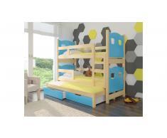 JUSTyou Leticia Kinderbett 160x188x81 cm Kiefer Blau