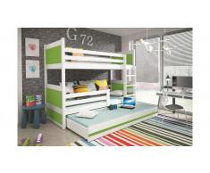 JUSTyou Lora mit Extrabett Etagenbett 90x200 cm Weiß Grün