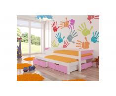 JUSTyou Fraga Kinderbett 65x206x96 cm Weiß Rosa