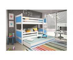 JUSTyou Lora mit Extrabett Etagenbett 90x200 cm Weiß Blau
