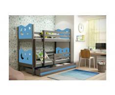 JUSTyou Ola Etagenbett 90x200 cm Graphit Blau