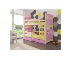 JUSTyou Maraba Kinderbett 160x188x81 cm Kiefer Rosa