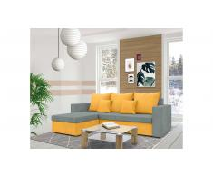 JUSTyou Lettie Ecksofa Links Mikrofaser SUEDINE Orange Grau