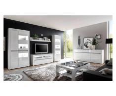 JUSTyou Edelstein Wohnzimmerset Weiß Matt | Weiß Hochglanz