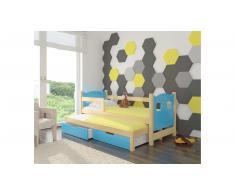 JUSTyou Campos Kinderbett 80x188x81 cm Kiefer Blau