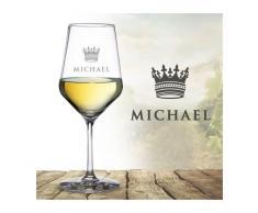 Monsterzeug - Weißweinglas mit Gravur - König Krone