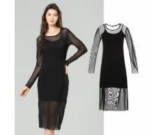 Kleid mit halbtransparentem Überwurf