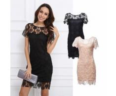 Kleid mit floralem Spitzen-Überwurf