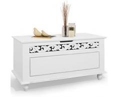 Deuba Holztruhe Truhenbank Jersey 80x40x48 cm Sitztruhe Mit Stauraum Klappbarer Deckel Couchtisch Truhe Groß Holz Weiß
