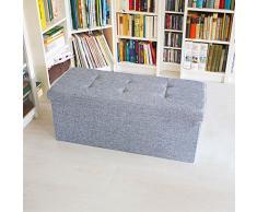Relaxdays Sitzbank mit Stauraum Leinen faltbar 76x38x38cm stabil Sitztruhe Sitzhocker (grau)