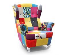 mb-moebel Ohrensessel Fernsehsessel Wohnzimmer-Sessel Relax-Sessel Loungesessel Armsessel Patchwork