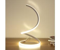 Modeen Spiral-LED-Tischlampe, moderne LED-Schreibtischlampe, Schlafzimmer Nachttischlampe Arbeitsstudie Augenlicht minimalistischen platzsparenden Design, 40W warmes Licht, Smart Acryl Material perfekt für Schlafzimmer Wohnzimmer ( Color : White )