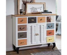 Wohnling Sideboard Farid 120x105x40 cm Vintage-Stil Mango Massivholz/Metall | Design Kommode Schmal Bunt | Dielenkommode Standschrank Hoch | Anrichte Schlafzimmer Massiv | Schubladenkommode Flur