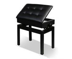 WY Einstellbare Deluxe Padded Klavierbank, Holzklavierhocker mit Ablagefach, Vollhartholzbaukeyboardbank QIN (Color : Schwarz)