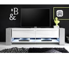 trendteam TM TV Unterteil Lowboard | Hochglanz Weiß | Beton Industry | 210 x 64 cm