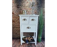 Kommode Telefontisch Anrichte mit 3 Schubladen Landhaus Vintage Weiß 70 cm Höhe LV1026