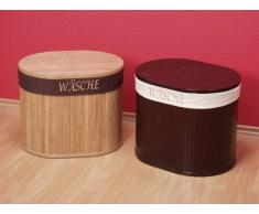 moebel direkt online Sitz-/Wäschetruhe _ mit Stoffeinsatz _ Bambus-Sitztruhe braun gebeizt und lackiert