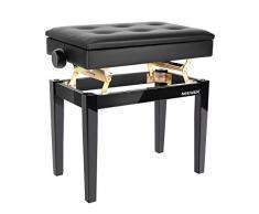 Neewer verstellbarer Klavierbank aus Holz mit Notenaufbewahrung Schwarzes Solo Sitzkissen aus PU leder Massivholzkonstruktion DX16