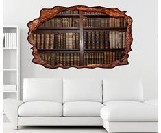 3D Wandtattoo alte Bücher Buch Regal antik Bibliothek selbstklebend Wandbild Tattoo Wohnzimmer Wand Aufkleber 11L368, Wandbild Größe F:ca. 162cmx97cm