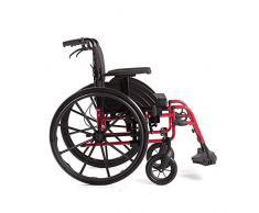 LOLRGV Mode Sport Tragbare Klapprollstuhl Ergonomische Bequeme Armlehne Rücksitz Schaukel Bein Halterung Gewicht Nur 15 Kg Rot
