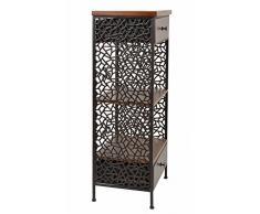Kommode Schrank Regal Shabby Antik Industrie Design Holz mit Metall Nachttisch Beistelltisch Telefontisch