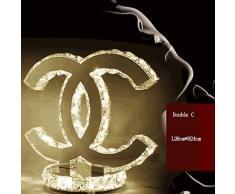 LED K9 Kristall Tischlampe Modern Edelstahl Spiegel Tischleuchte Babyzimmer Schlafzimmer Wohnzimmer Flur Elegante Halbkreis Doppel C Dekorativer Innenbeleuchtung L26cm*H24cm 18W,WarmLight3000K