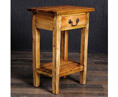 MASSIVHOLZ Telefontisch mit Schublade Indo Mahagony RUSTIC GREY BLUMENHOCKER 52cm