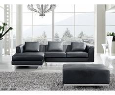 Sofa Schwarz Leder - Couch - Ecksofa R - Sofalandschaft - Sofagarnitur - Ledersofa – OSLO