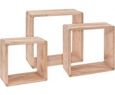 Holz Wandregal Würfel 3er Set - 30/27 / 24 cm - Würfelregal Hängeregal Holz Natur